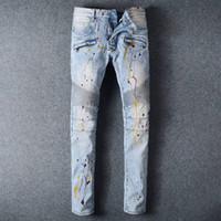 american spray paint - Fashion designer balmain Jeans for Men Spray paint light blue Motorcycle Biker Pants Slim Fit Skinny Full Length Trouser vaqueros hombres