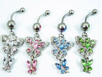 Wholesale Belly Button Navel Rings Body Jewelry Piercing Fashion Rhinestone Stainless Steel Shiny Heart BJ0053