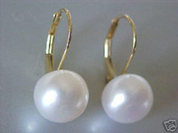 Wholesale 9 mm white round shell pearl earrings