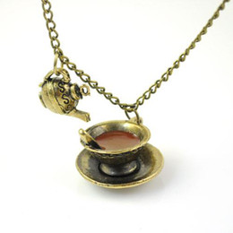 Vintage cute Coffee cup & teapot pendant necklace antique fashion jewelry necklaces, hot selling in Melbourne, NL-1470