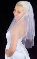 any color   Scalloped cut edge with crystal drops, bugle beads and three-point seed beads wedding veil 011