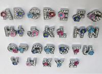 Wholesale 130pcs mm A Z Flower Rhinestone slide letters pet collar