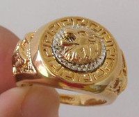 Wholesale Exquisite Lion head amp Eagle K GP Yellow Gold men s Ring