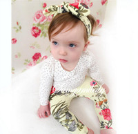 TuTu baby bow legged - NWT New cute Baby Girls Outfits piece Set Summer Spring Sets Cotton Tops Shirts Rose floral legging Pants bow headband headwrap