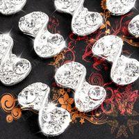 Nail Art Bead art diamante - 10x Bling D Bowknot Diamante Nail Art Tips Decoration Silver Free Gift Free ship