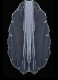 Silver Embroidery Edge Beads Drop Pearls Rhinestones wedding veil 044