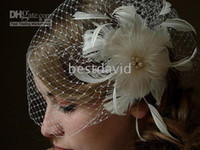 Wholesale Ivory Full Side Blusher Birdcage Veil Detachable Ivory Feather Flower Fresh Pearls Cente