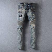 ans lighting - New Fashion balmain ans for men Casual Denim Straight Design Biker Jeans homme Pants Skinny Runway Trousers vaqueros hombres Plus size