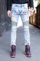 american spray paint - Fashion balmain jeans for Men Spray paint light blue Motorcycle Biker Pants Slim Fit Skinny Full Length Trouser vaqueros hombres