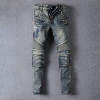 Wholesale Mens Skinny balmain jeans men Runway Distressed slim elastic jeans denim Biker jeans hiphop pants Washed jeans for men Plus size
