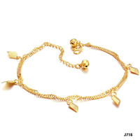 Wholesale NEWEST DESIGN k gold FOOT CHAIN K GOLD NEVER FADE ANKLETS for girls lotJ716