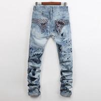 Wholesale European American Robbin Style fashion brand men Balmain jeans luxury Mens casual denim trousers Slim blue Straight zipper jeans for men
