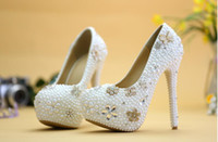 adult glass slippers - Luxurious handmade glass slipper bride wedding shoes white pearl diamond shoes picture taken adults shoes