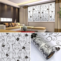 adhesive covering film - New DIY Sweet Window Decorative x100cm Frosted Cover Glass Window Door Black Floral Flower Sticker Film Adhesive Home Room Bathroom Office