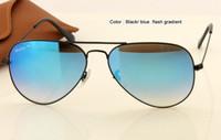 al por mayor gafas de sol mujer original-Las mujeres de los hombres las nuevas gafas de sol del diseñador de moda metal el marco negro del metal gradiente rojo azul verde espejo de destello vidrios de sol caso original 58m m