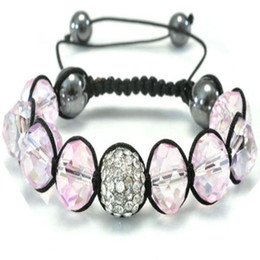 2014 New Pink Crystal Beads Fit Micro Pave Disco Beads Charms Handmade Bracelet 25pcs