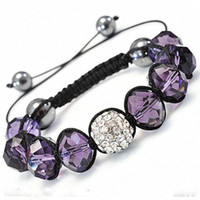 Wholesale Fashion Jewelry Amethyst Crystal Bracelet Fit Shining Diamond Bead Bracelet Adjustable