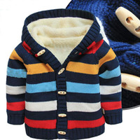 Wholesale Y baby sweater cardigan thick cotton knit multi striped sweater baby warm kids boy cardigan fleece lining knitted jacket