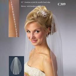 Wholesale Austrian crystal and rocaille bead edge wedding veil