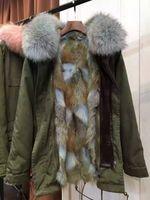 Women coyote fur Long Sleeve MR MRS FURS parka Light blue fur army green long coats coyote fur & Raccoon Fur Parka from Mr & Mrs Italy