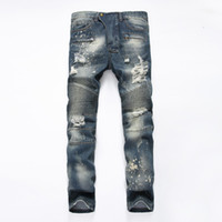 Wholesale Mens Balmain Jeans Biker Jeans Slim Locomotive Paragraph Fold Jeans For Men Washed Ripped Hole Jeans