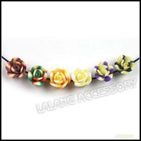 flower polymer clay beads - 10mm Mixed Rose Fimo Polymer Clay Beads Straight Hole Beads Jewelry Handcraft DIY