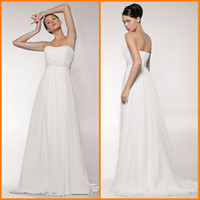 Wholesale d32 Hot Empirre Floor length Spaghetti strap Fold Chiffon Court Wedding Dresses