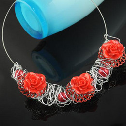 rose pendant necklace , red pearl charms choker necklaces , NL-1315B