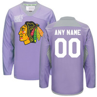 Wholesale Cheap NE Chicago Blackhawks Purple Custom Hockey Fights Cancer Practice Jersey Any Custom Name Number