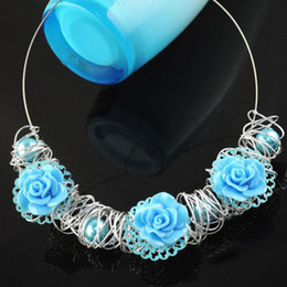 Blue rose pendant necklace | costume jewelry sky blue choker, hot wholesaling in Austrilia, NL-1315A