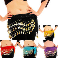 Wholesale 7 Colors Rows Gold or silver Coins Belly Egypt Dance Hip Skirt Scarf Wrap Belt Costume