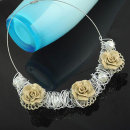 Resin rose choker| elegant rose necklace, fashion jewelry hot wholesaling in Austrilia , NL-1315D