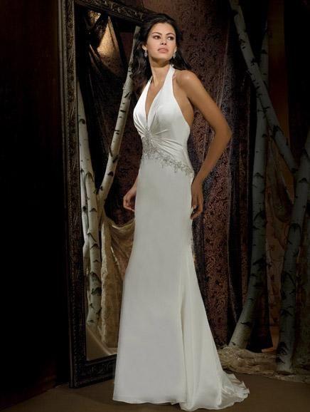 Halter Style Wedding Gowns Mature Bride - Cheap Wedding Dresses