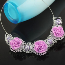 handmade rose choker | Lavender rose pendant necklace | fashion costume jewellery for women NL-1315E