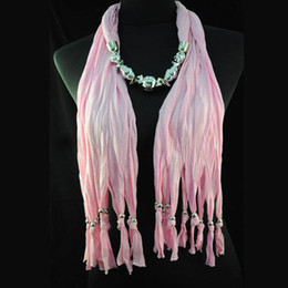 Fashion women silver jewelry beads charm scarf necklace | pink long tassel necklace scarf | hot sell NL-1334J