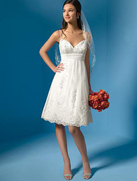 Wholesale A Line Spaghetti Tea Length Applique Organza Little White Dress Informal Beach Wedding Dresses