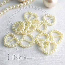 Wholesale Ivory Pearl Heart Buckle Wedding Favour Box scrapbooking Ribbon Slider