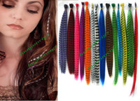 Wholesale Synthetic Grizzly Rooster Feather Hair Extension kits Feathers Extensions amp Free all tools