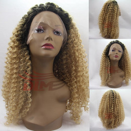 Wholesale Cheap Blonde Synthetic Wigs Curly - Synthetic Wigs for Black Women ombre blonde Kinky Curly Afro Wig Cheap Female Wig for Women Curly Heat Resistant Synthetic Wigs