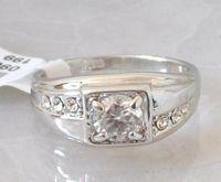 Wholesale Elegant White Topaz K GP White Gold Wedding Ring
