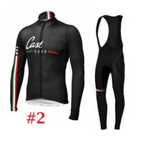 anti cafe - Castélli Cafe Cycling Jerseys Set Long Sleeve With Padded Bib None Bib Set Autumn Winter Thermal Fleece None Fleece Bike Wear XS XL Black