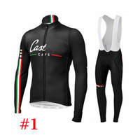 Wholesale Caste lli Cafe Black Cycling Jerseys Style Long Sleeve With Padded Bib None Bib Bicycle Skinsuit Men Fashion Autumn Winter Cycling Kits