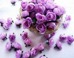 500pcs lot Artificial Silk Simulation Rose Rosebud Flower Head Camellia Flowers With Leaves Wedding & Christmas 6 Colours 3cm