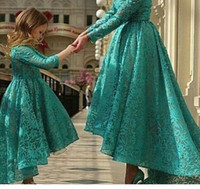 Wholesale Princess Lace Girl s Pageant Dresses with Long Sleeves and Jewel Neck Hunter Hi Lo Spring Minime Mother Daughter Dresses