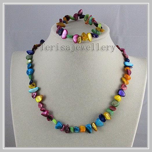 Оптовая продажа смешивает цвет природных оболочки ожерелье браслет комплект юве фото