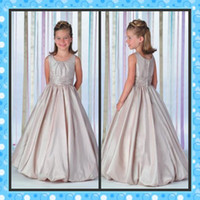 Taffeta Bateau Sleeveless Full Refund Guarantee! Scoop Neck Affordable Taffeta Pleated Long A-line New Skirt Flower Girl Dress