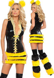 Wholesale Retail Classic Cute Sexy Queen Bee Costume With Dress and Leggings Headpiece High Qualtiy