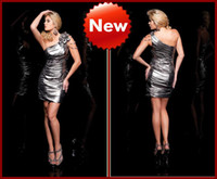 Wholesale Custom Made New Arrival One Shoulder Silver Metallic Column Cocktail Dress Homecoming Dresses