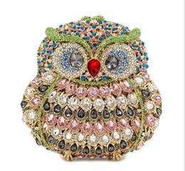Wholesale 2016 Owl luxury handmade diamond studded evening dinner bag full of high end foreign trade crystal hand held evening bag