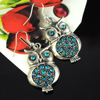 Wholesale alloy earrings green rhinestone owl pendant jewely earrings hot wholesaling to Austrilia ER B